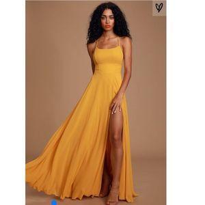 LULUS Yellow Backless Maxi Dress S